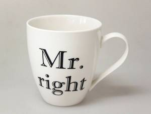 Hrnček porcelánový Mr. right 610 ml